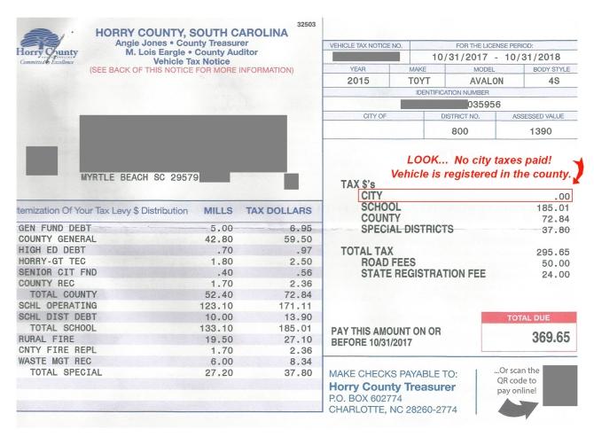 Vehicle Tax Bill